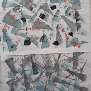 Fabric paintings using a credit card and acrylic paint - Connie Gilham