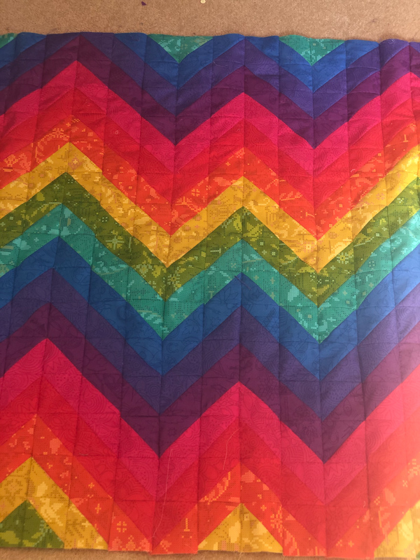 Front side of child's rainbow quilt - Jill Holden